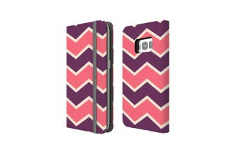 For Samsung Galaxy S8+ Plus Case Wallet Protective Cover Zigzag Pink Purple