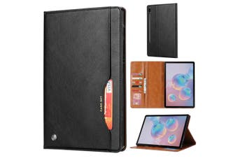 For Samsung Galaxy Tab S6 Case, Wallet PU Leather Flip Cover, Black