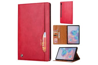 For Samsung Galaxy Tab S6 Case, Wallet PU Leather Flip Cover, Red
