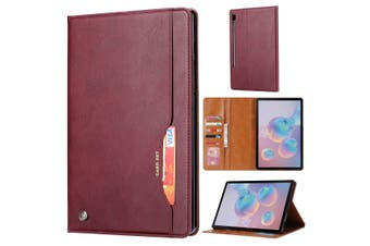 For Samsung Galaxy Tab S6 Case, Wallet PU Leather Flip Cover, Wine Red