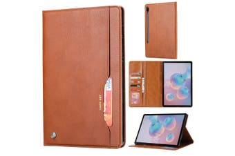 For Samsung Galaxy Tab S6 Case, Wallet PU Leather Flip Cover, Brown