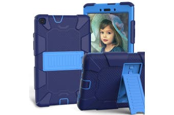 For Samsung Galaxy Tab A 8.0-Inch (2019) Case, Shockproof Colourblock Silicone Cover with a Stand, Dark Blue + Blue