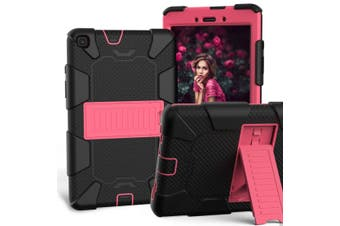For Samsung Galaxy Tab A 8.0-Inch (2019) Case, Shockproof Colourblock Silicone Cover with a Stand, Black + Pink