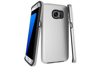For Samsung Galaxy S7 EDGE Case, Silver Armor Shockproof Protective Phone Cover