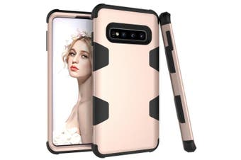 For Samsung Galaxy S10 Case, Gold Armour TPU & PC Shockproof Grip Back Cover