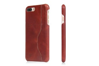 For iPhone 8 PLUS,7 PLUS Wallet Case,Elegant Waxed Cow Leather Cover,Dark Brown