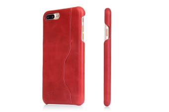 For iPhone 8 PLUS,7 PLUS Wallet Case,Elegant Waxed Cow Durable Leather Cover,Red