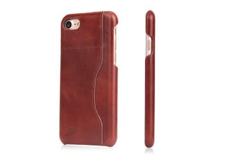 For iPhone SE (2020) / 8 / 7 Wallet Case,Protective Cow Leather Cover,Dark Brown