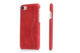 For iPhone SE (2020) / 8 / 7 Wallet Case,Protective Cow Leather Cover,Red