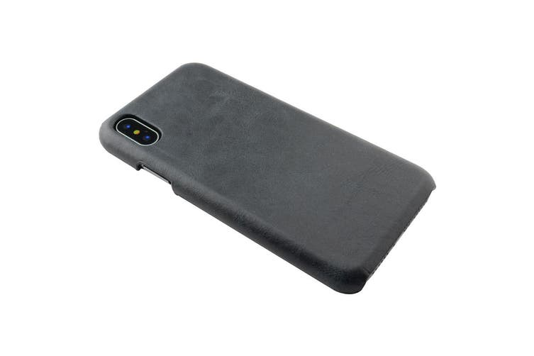 For iPhone XS,X Case,Elegant High-Quality Genuine Protective Leather Cover,Black