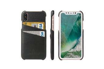 For iPhone XS,X Case,Modern Handmade Durable Genuine Leather Fashion Cover,Black
