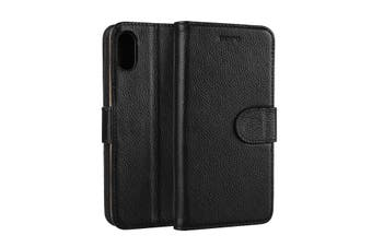For iPhone XS,X Wallet Case,Elegant Fashion Cowhide Genuine Leather Cover,Black
