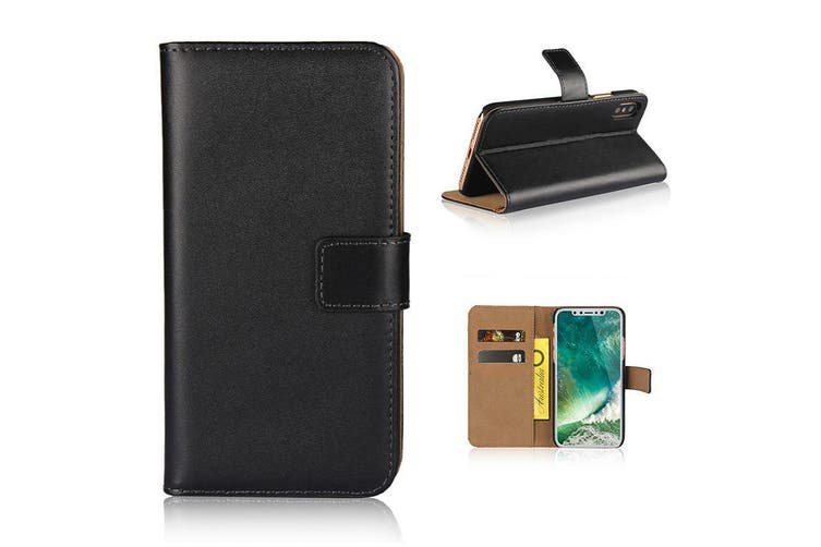 For iPhone XS,X Wallet Case,Elegant Slim Leather Cover Card Holder,Black