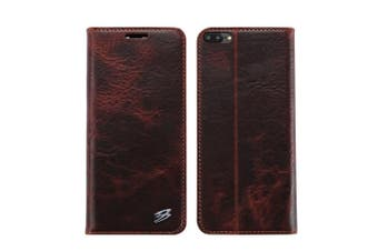 For iPhone 8 PLUS,7 PLUS Wallet Case,FS Genuine Cow Leather Cover,Brown