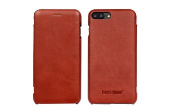 For iPhone 8 PLUS,7 PLUS Case,FS Genuine Durable Leather Flip Cover,Red