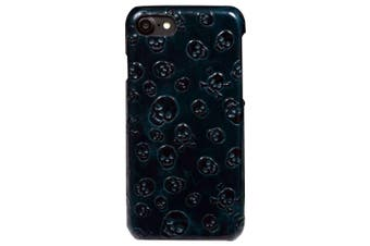 For iPhone SE (2020) / 8 / 7 Case,Skulls Genuine Cowhide Leather Fashion Cover,Green