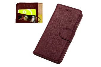 For iPhone SE (2020) / 8 / 7 Wallet Case,Fashion Cowhide Genuine Leather Cover,Red