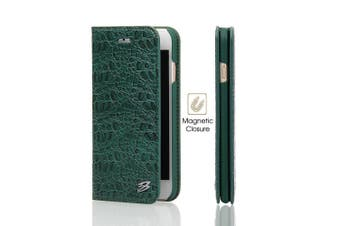 For iPhone SE (2020) / 8 / 7 Wallet Case,FierreShann Crocodile Genuine Cow Leather Cover,Green