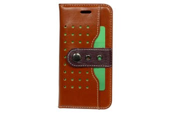 For iPhone SE (2020) / 8 / 7 Wallet Case, Buckle Protective Leather Cover,Brown