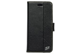 For iPhone SE (2020) / 8 / 7 Wallet Case, Genuine Cowhide Leather Cover,Black