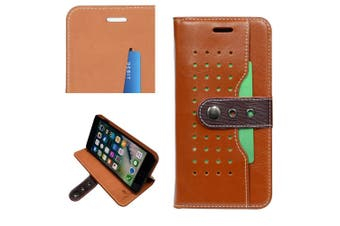 For iPhone 8 PLUS,7 PLUS Wallet Case,Fierre Shann Buckle Leather Cover,Brown
