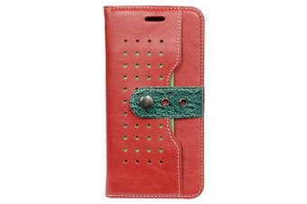 For iPhone 8 PLUS,7 PLUS Wallet Case,Fierre Shann Buckle Leather Cover,Red
