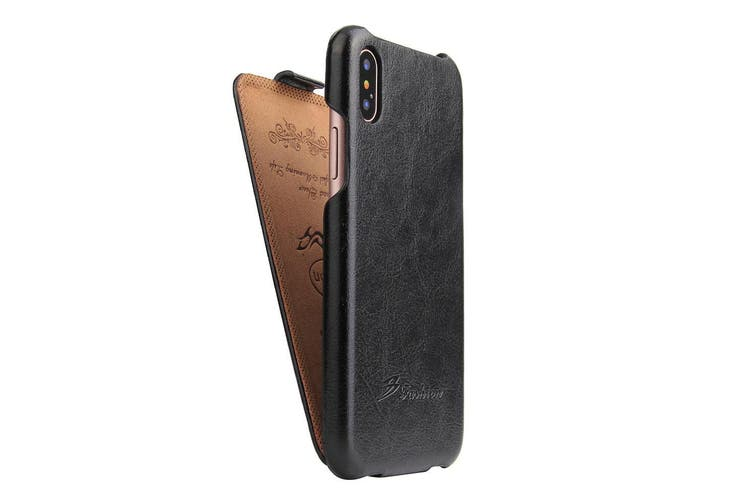 For iPhone XS,X Case,Elegant Fashion Vertical Flip Shielding Leather Cover,Black