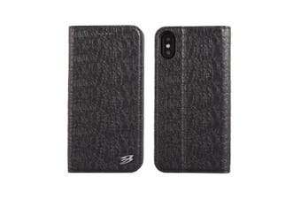 For iPhone XS,X Wallet Case,Fierre Shann Crocodile Genuine Leather Cover,Black