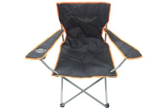 Camping Chair with Cup Holder in Black and Orange