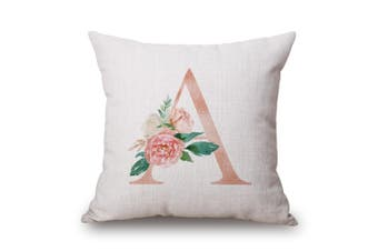 EHOMMATE 45*45cm A Letter A with Flower on 100% linen Cushion Cover 60102-01