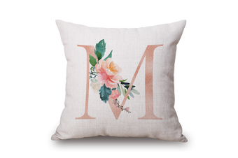 EHOMMATE 45*45cm A Letter M with Flower on 100% linen Cushion Cover 60102-15