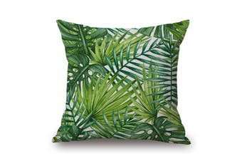 EHOMMATE 45*45cm Tropical Leaves on Green Plants 100% linen Pillow Cover 81474