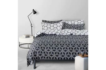 Newest Geometry Black And White Cotton Fibre Quilt Cover 3 Pieces Bedding Set King