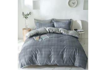 Light Grey Grid Cotton Fibre Quilt Cover 3 Pieces Bedding Set Queen