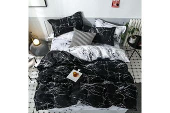 White And Black Marble Pattern Cotton Fibre Quilt Cover 3 Pieces Bedding Set King