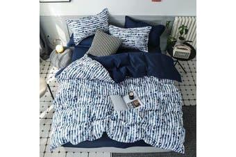 Darkblue And White Stripe Cotton Fibre Quilt Cover 3 Pieces Bedding Set Queen