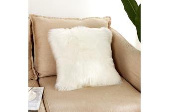 EHOMMATE 40*40cm Artificial Wool Fur Soft Plush Pillowcase Cushion Cover - White