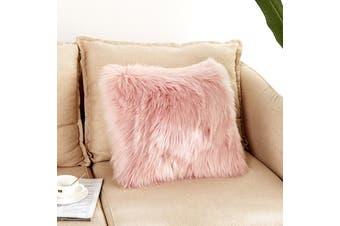 EHOMMATE 40*40cm Artificial Wool Fur Soft Plush Pillowcase Cushion Cover - Pink
