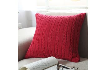 EHOMMATE Nordico Handmade Soft Cozy Knit Button Cushion Cover - Red