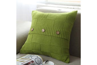 EHOMMATE Nordico Handmade Soft Cozy Knit Button Cushion Cover - Green