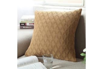 EHOMMATE Nordico Handmade Soft Cozy Knit Cushion Cover - Brown