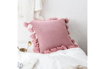 EHOMMATE 45*45cm Nordico Handmade Soft Cozy Knit Tassel Cushion Cover - Pink