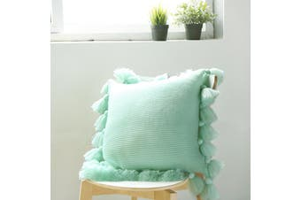 EHOMMATE Nordico Handmade Soft Cozy Knit Tassel Cushion Cover - Green