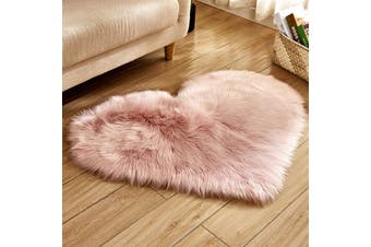 EHOMMATE 60*60cm Heart-Shaped Artificial Wool Fur Soft Plush Rug -Pink