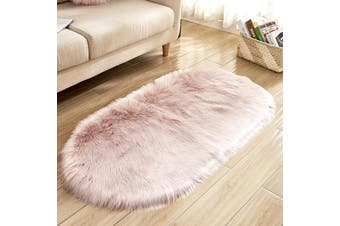 EHOMMATE 50*80cm Oval-Shaped Artificial Wool Fur Soft Plush Rug -Pink