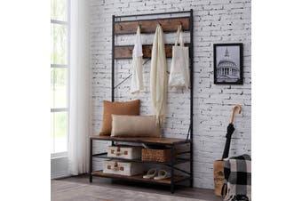 IHOMDEC 3-in-1 Entryway Coat Shoe Rack, Entry Hall Tree Bench with 3 Tier Storage Shelves, Wood Furniture with Metal Frame, 7 Hooks for Garment Coats Hats Keys Umbrella Rack