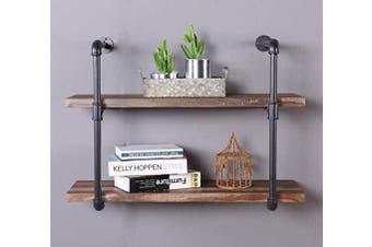 IHOMDEC 2-Shelf Rustic Pipe Shelving Unit, Vintage Industrial Pipe Wall Shelf, Retro Brown