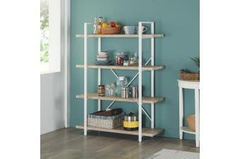 IHOMDEC 4-Shelf Modern Style Bookshelf, Light Oak Shelves and White Metal Frame, Open Bookcases Furniture for Home Office, 54.9-Inch Height