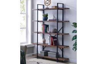 IHOMDEC 5-Tier Bookcase, Vintage Industrial Wood and Metal Bookshelves for Home and Office Organizer, Retro Brown