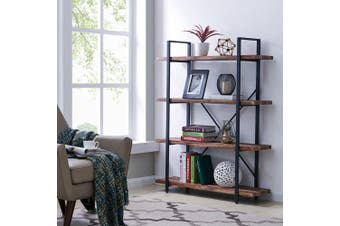 IHOMDEC 4-Tier Industrial Style Bookshelf, Wood and Metal Bookcases Furniture for Collection, Retro Brown